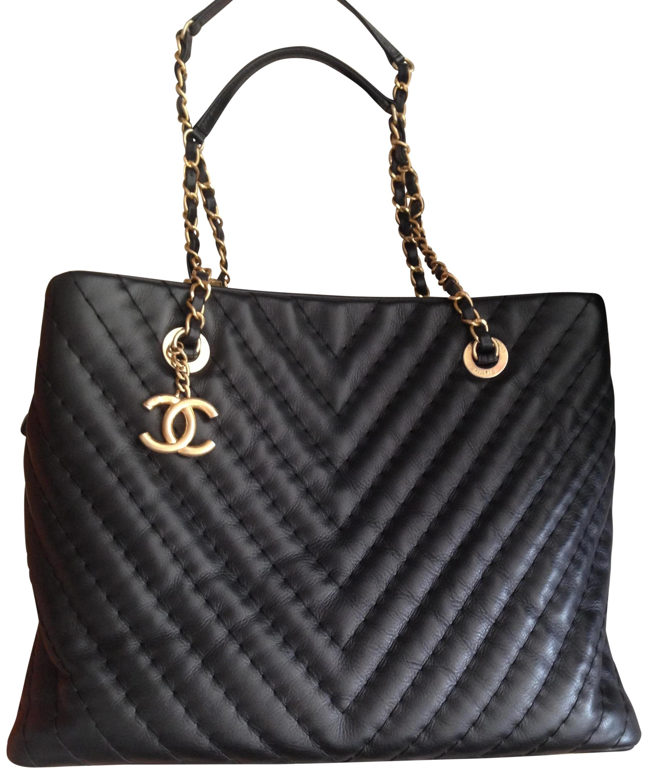 Chanel Black Lambskin Leather Quilted Chevron Large Tote