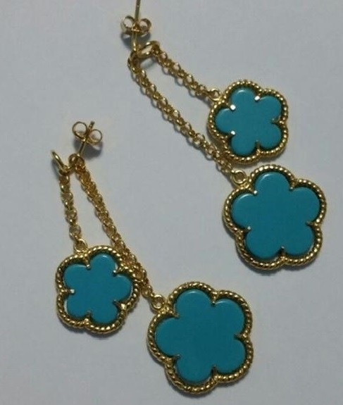 Beautiful Turquoise Sterling Silver 14k Gold Plated