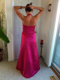 David's Bridal Pink Watermelon Satin Long Bridesmaid Dress ...