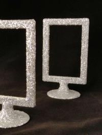 Silver Glitter Table Number Holders Picture Frames ...