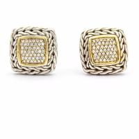 John Hardy Yellow Gold Classic Chain Pave Diamond Stud