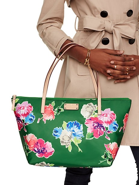 cc1d8f8032bd5 Kate Spade Flower Green Nylon With Smooth Leather Trim Tote Tradesy