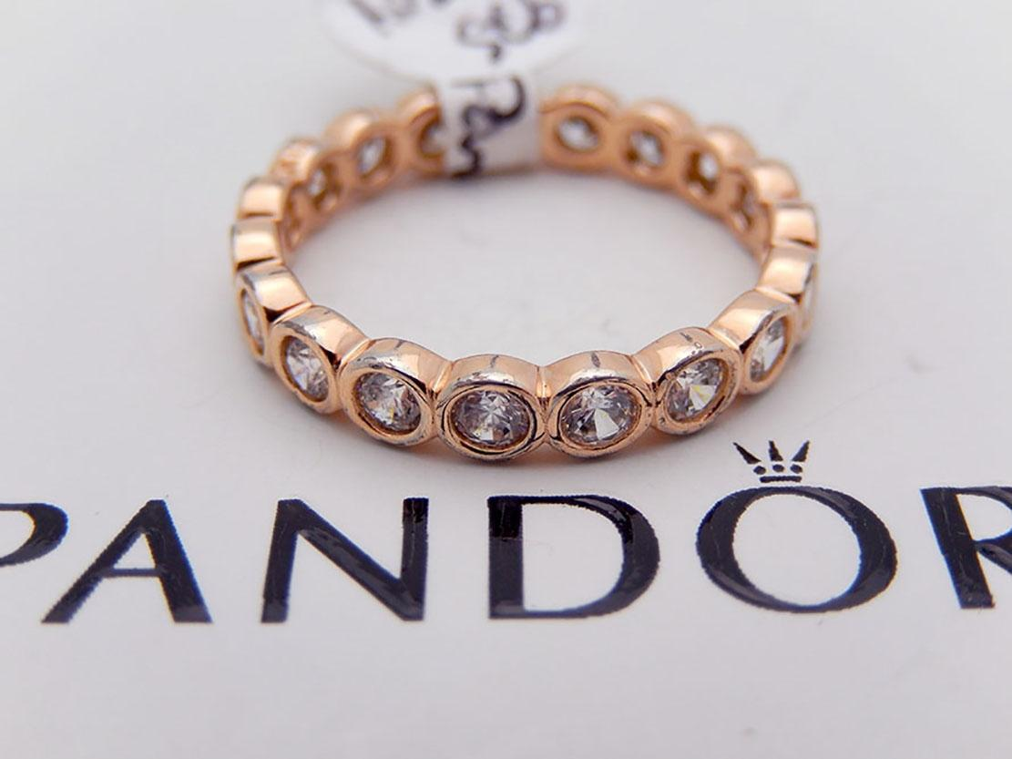 PANDORA Pink Clear Cz Eternity Band In Rose Gold Plated