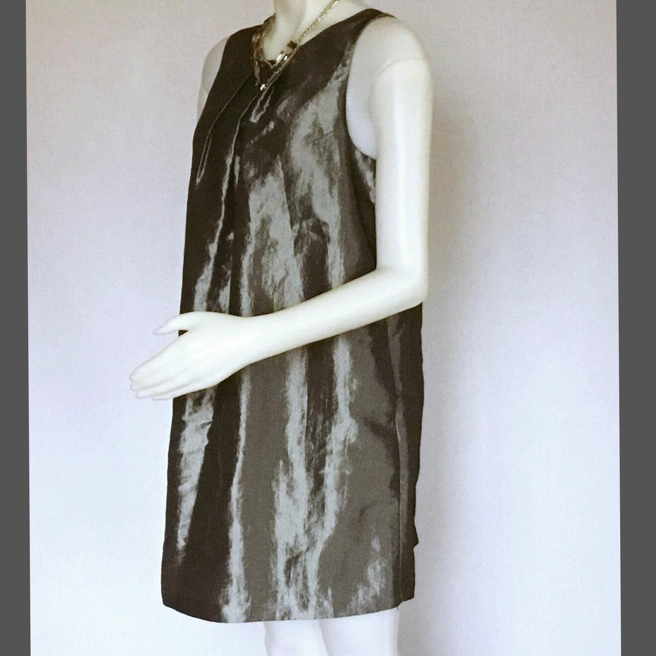 Pewter Above Knee Cocktail Dress Size 14 (L)