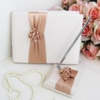 Blush Ivory Wedding Guestbook And Pen Set - Tradesy