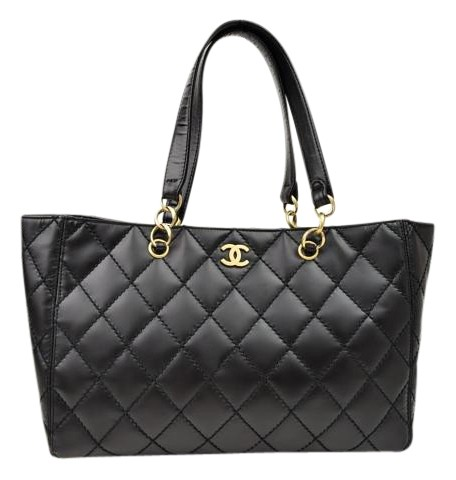 Chanel Grand Shopper Quilted Black Leather Tote - Tradesy