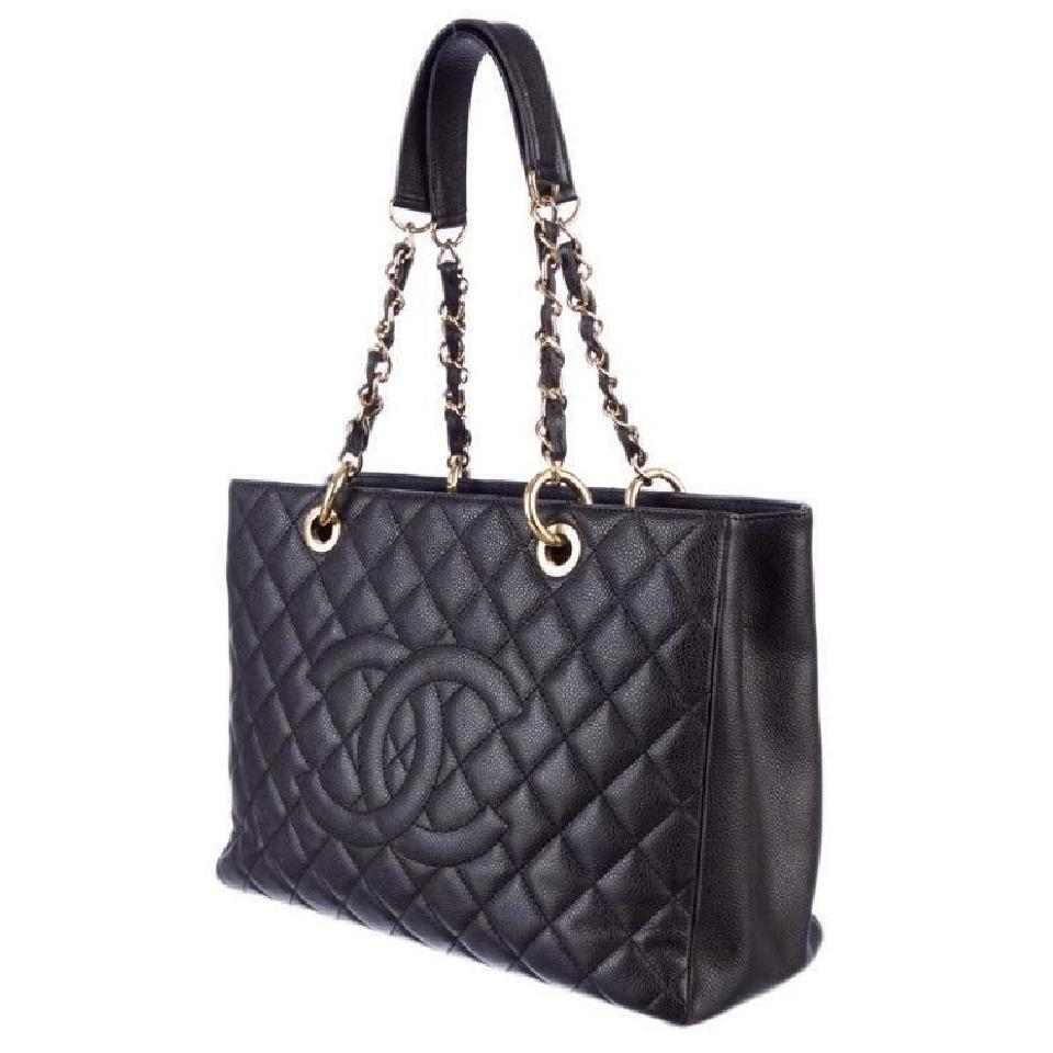 Chanel Grand Shopping Gst Caviar Quilted Leather Gold Hardware Ghw Black Tote Bag on Sale. 30% Off   Totes on Sale