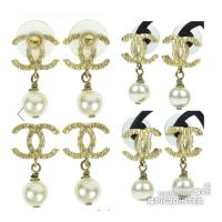 Chanel Large Cc Gold Pearl Earrings - Tradesy