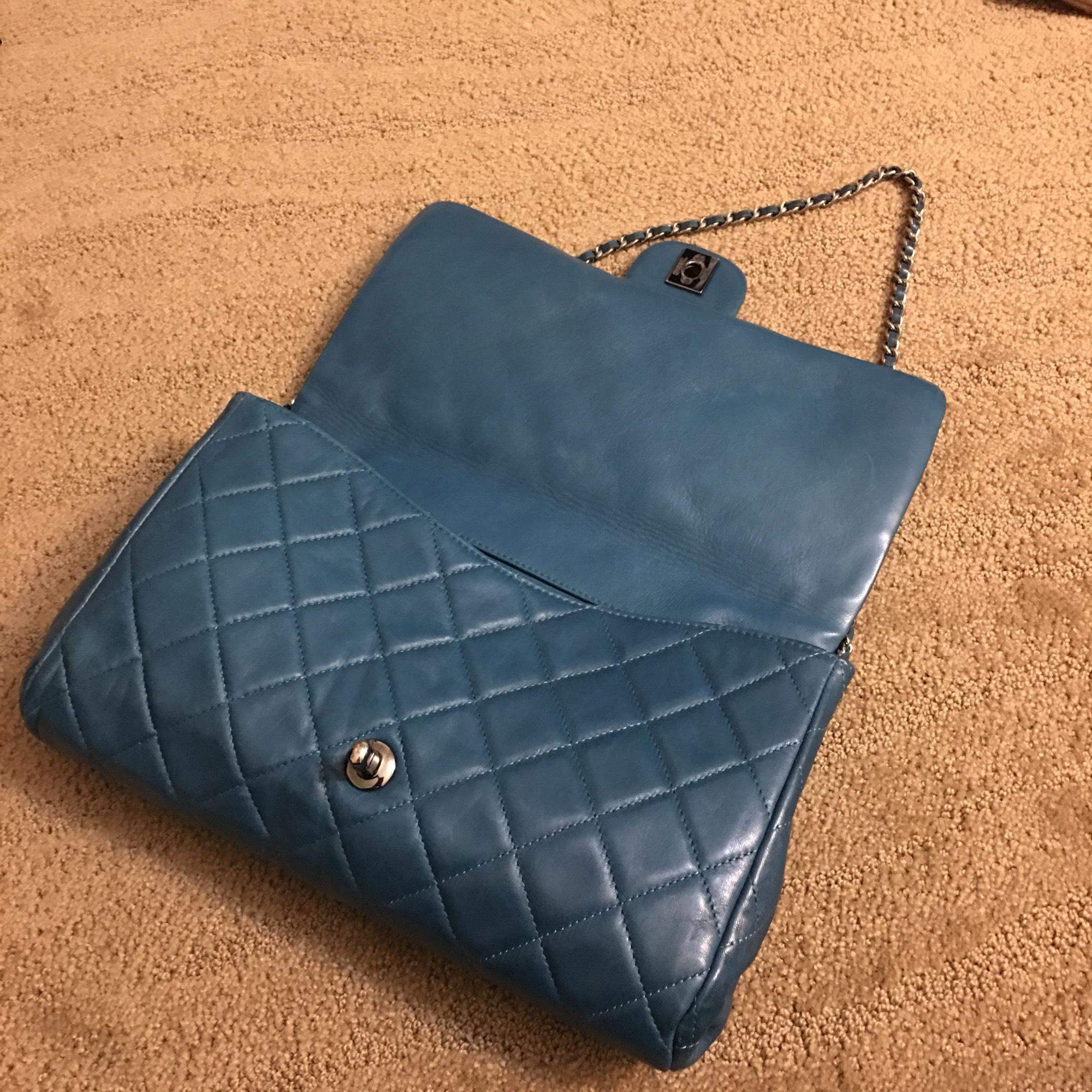 Chanel Timeless Clutch With Chain Teal Leather Shoulder