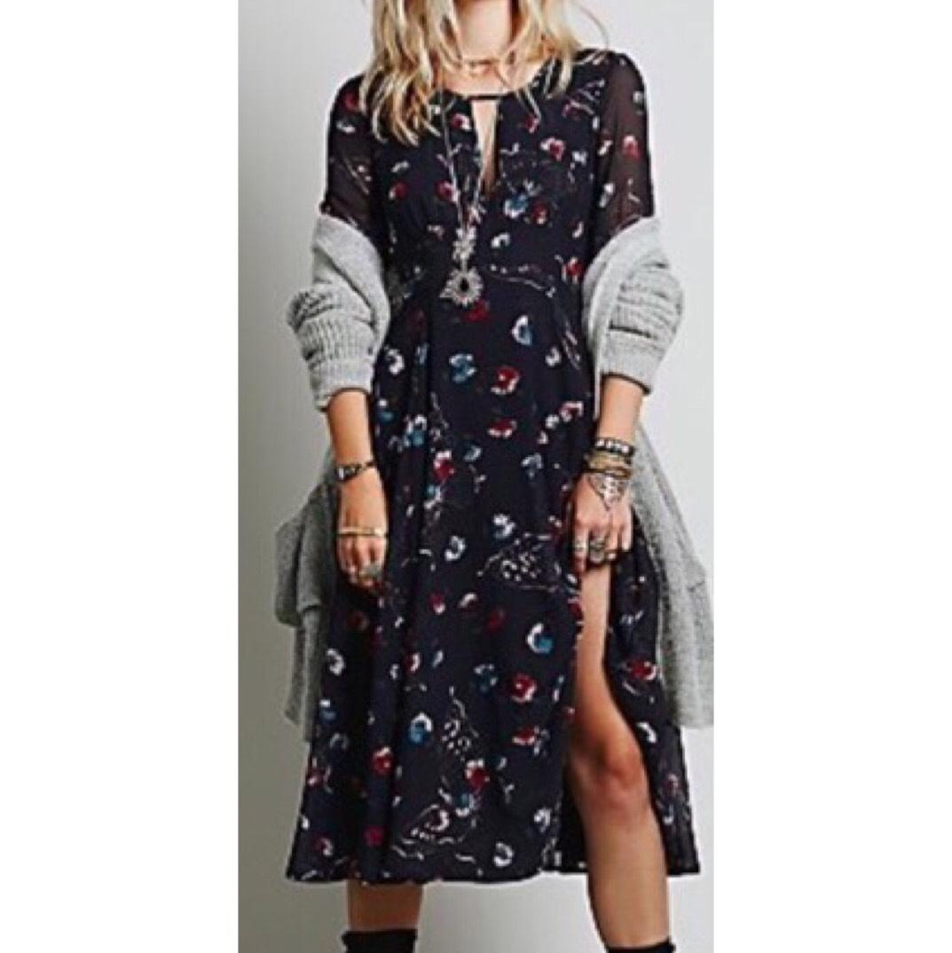 Free People Boho Vintage Floral Pattern Navy Blue