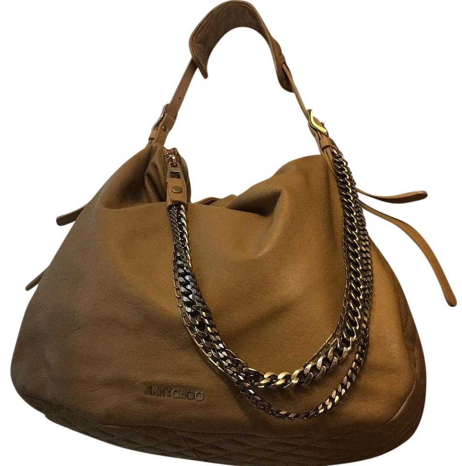 Jimmy Choo Biker Buff Taupe Leather Hobo Bag - Tradesy
