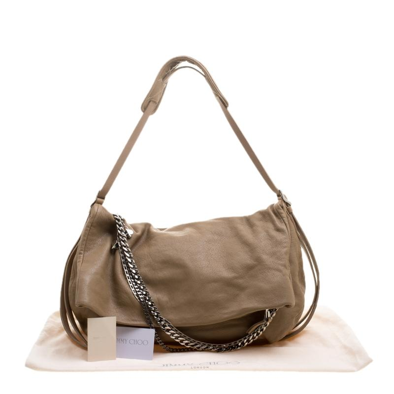 Jimmy Choo Leather Boho Biker Chain Brown Hobo Bag - Tradesy