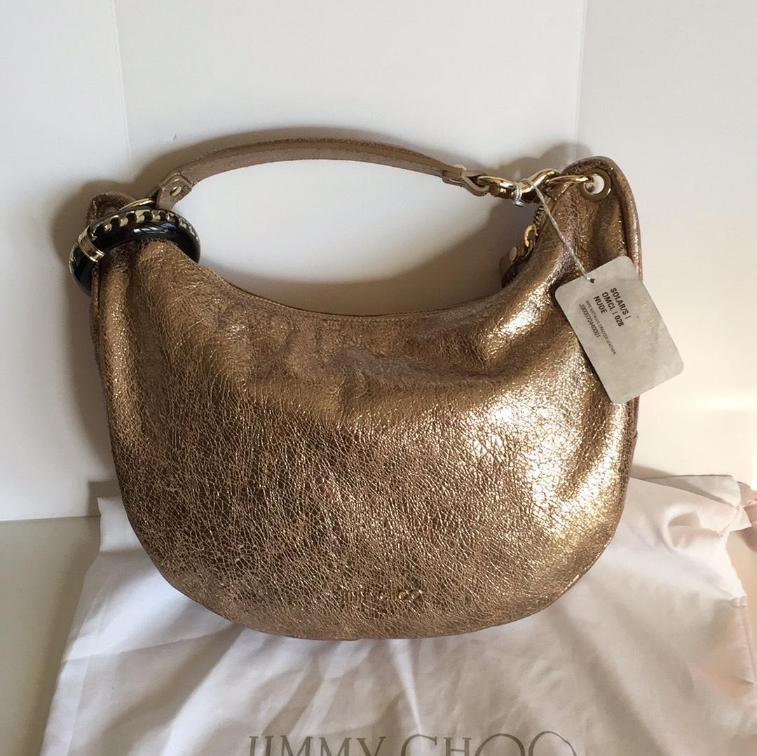 Jimmy Choo Solar Crackeled Gold Handbag Hobo Bag - Tradesy