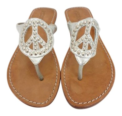 Mystique Boutique Silver Sandals With Studded Peace Sign