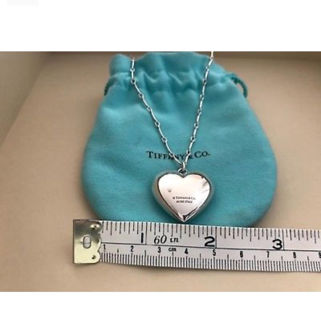 Tiffany & . Sterling Silver Puffy Heart Pendant Necklace