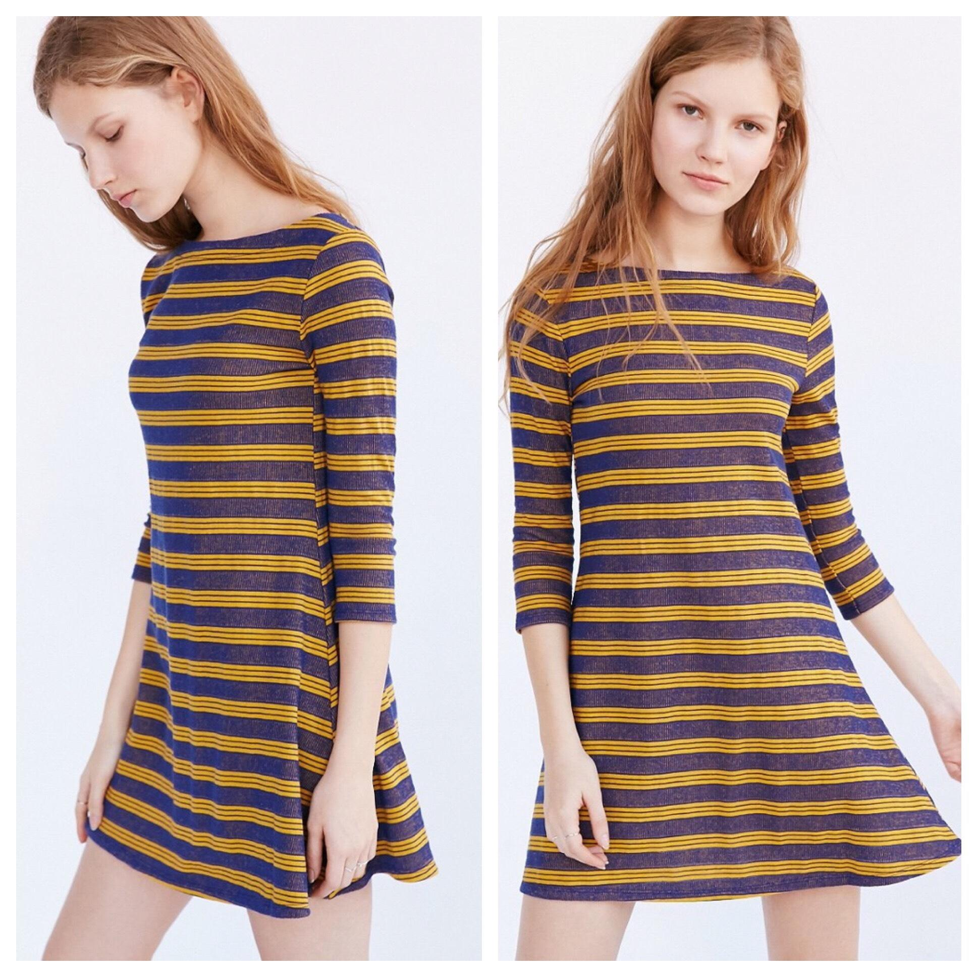 Urban Outfitters Blue And Yellow Dress - 74 Retail
