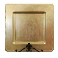 108 Gold Square Charger Plates With Beaded Rim 13 ...