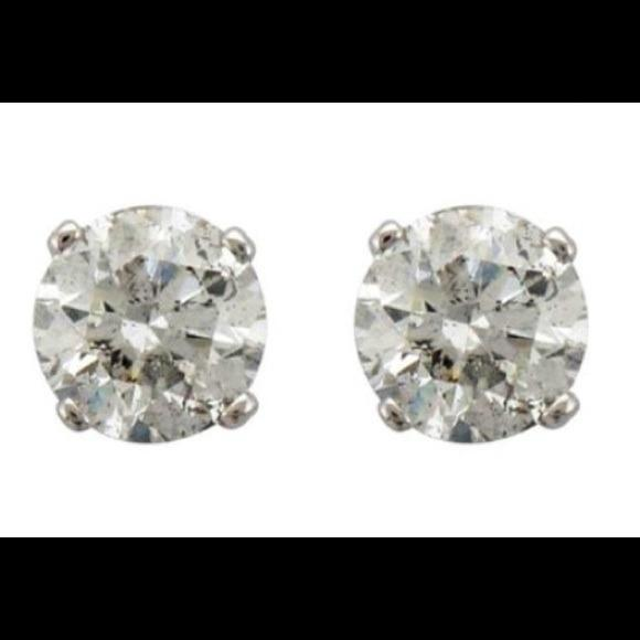 White Diamond Earrings 69 Jewelry Tradesy