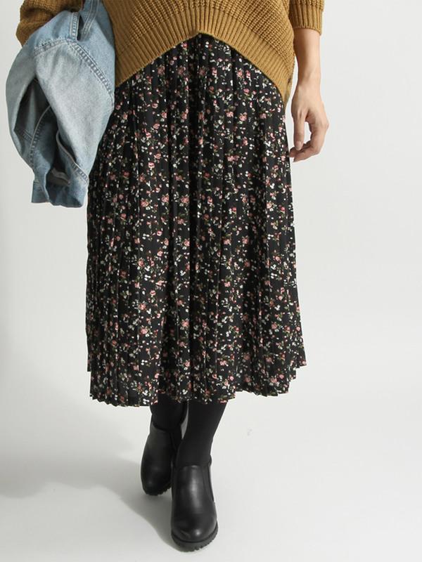 WEGO/フラワープリーツスカート(ネイビー)