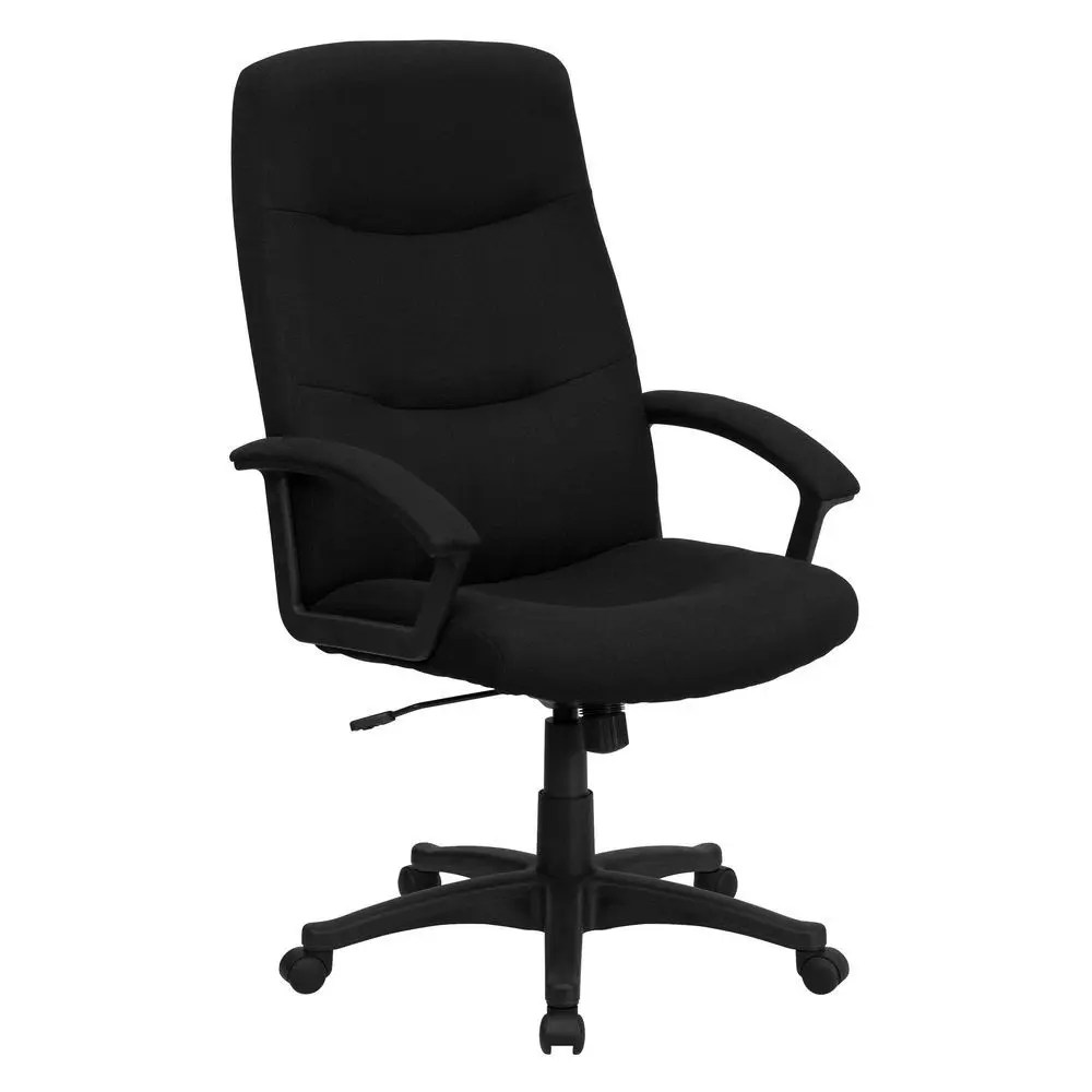 swivel office chair no arms baxton studio dining chairs flash furniture bt 134a bk gg high back black fabric
