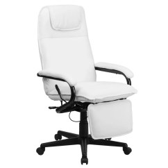 Desk Chair Footrest Cheap Table And Chairs Flash Furniture Bt 70172 Wh Gg High Back White Leather