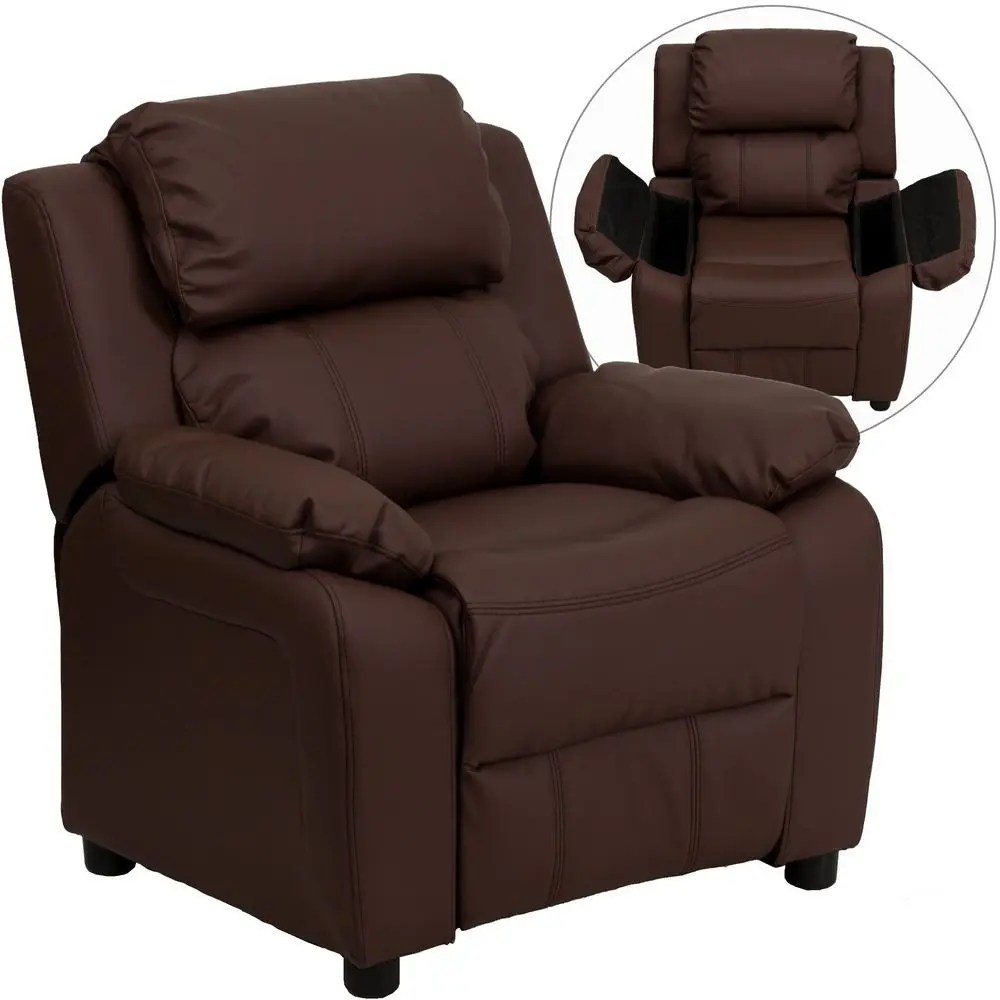 Kids Reclining Chair Flash Furniture Bt 7985 Kid Brn Lea Gg Deluxe Heavily