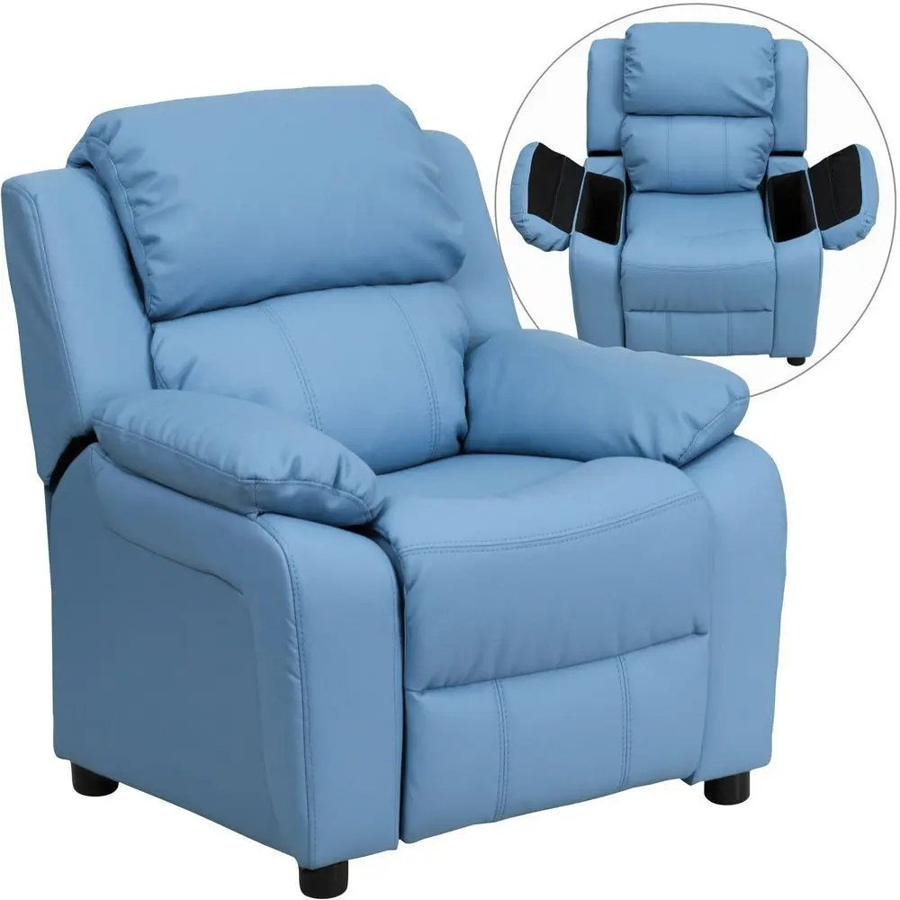 Kids Reclining Chair Flash Furniture Bt 7985 Kid Ltblue Gg Deluxe Heavily