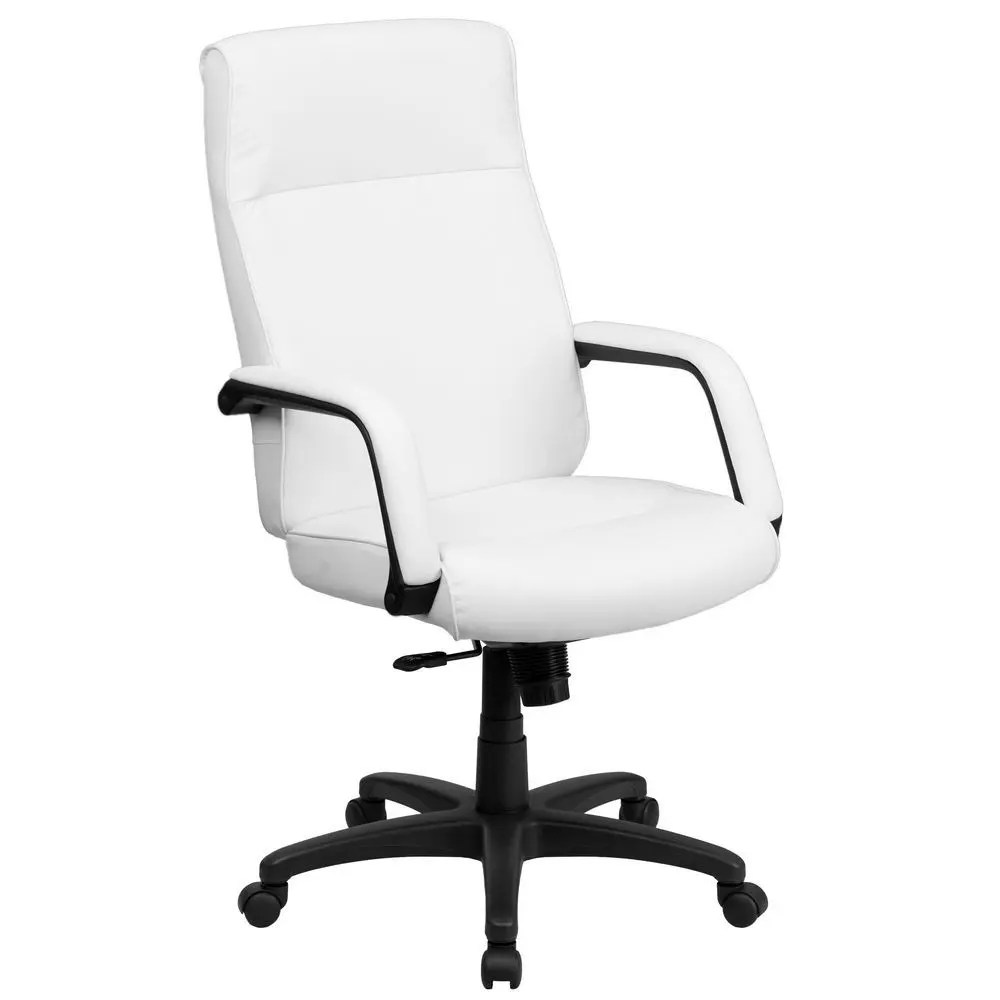 Leather Office Chairs Flash Furniture Bt 90033h Wh Gg High Back White Leather