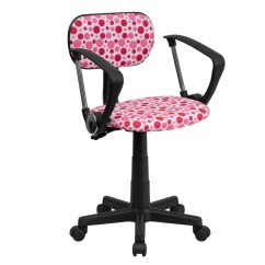 Computer Chair With Arms Minnie Mouse Table And Set 3 Pc Flash Furniture Bt D Pk A Gg Pink Dot Printed