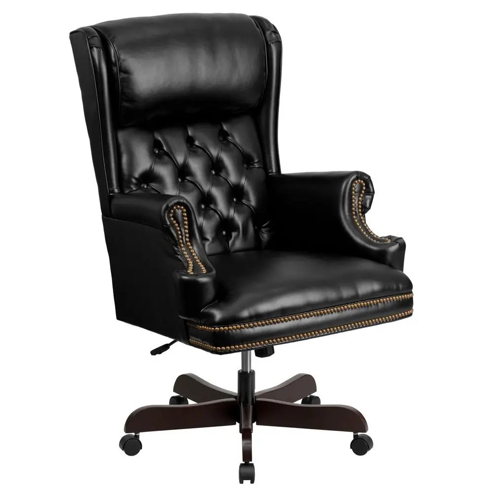Tufted Leather Office Chair Flash Furniture Ci J600 Bk Gg Black High Back Traditional Tufted