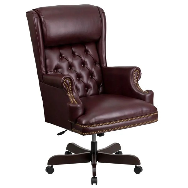 tufted leather executive office chair Flash Furniture CI-J600-BY-GG High Back Traditional Tufted Burgundy Leather Executive Office
