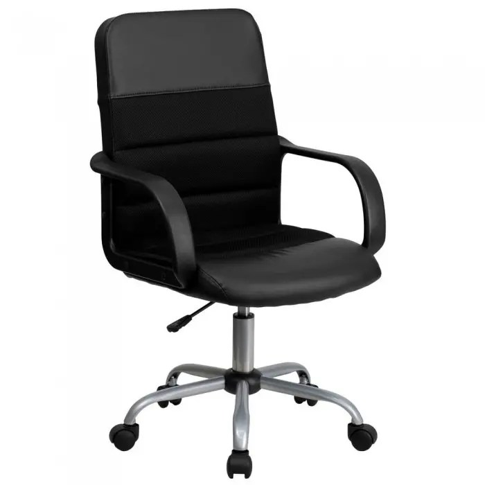 office chair adjustment levers how to make santa hat back covers flash furniture lf w 61b 2 gg black mid mesh and leather 269830 large jpg