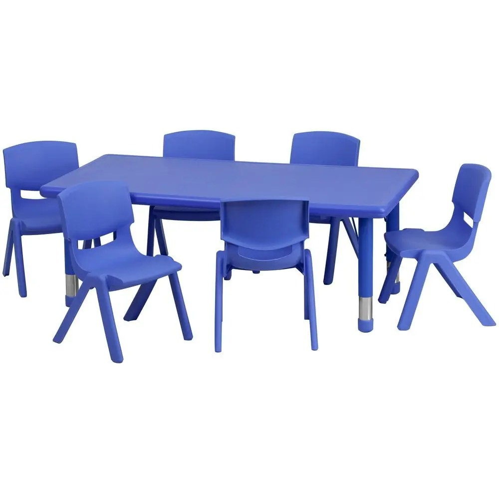 School Table And Chairs Flash Furniture Yu Ycx 0013 2 Rect Tbl Blue E Gg