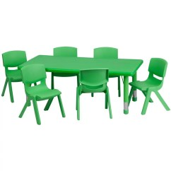 Plastic Kids Table And Chairs Red Desk Chair Staples Flash Furniture Yu Ycx 0013 2 Rect Tbl Green E Gg