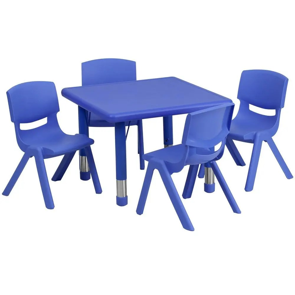 School Table And Chairs Flash Furniture Yu Ycx 0023 2 Sqr Tbl Blue E Gg Square