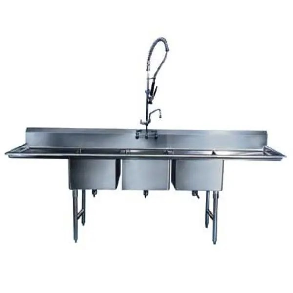 win holt ws3t10142d18 win fab three compartment sink with two drainboards 70 1 2 x 19 1 2