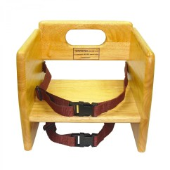 Booster Seat Straps To Chair Ivory Covers Spandex Winco Chb 701 Stacking Wood With Waist And