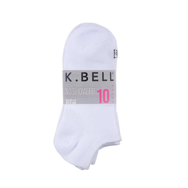 Paquete De Medias Tobilleras Color Blanco, Talla 4 – 10, K. Bell (10 Pares).