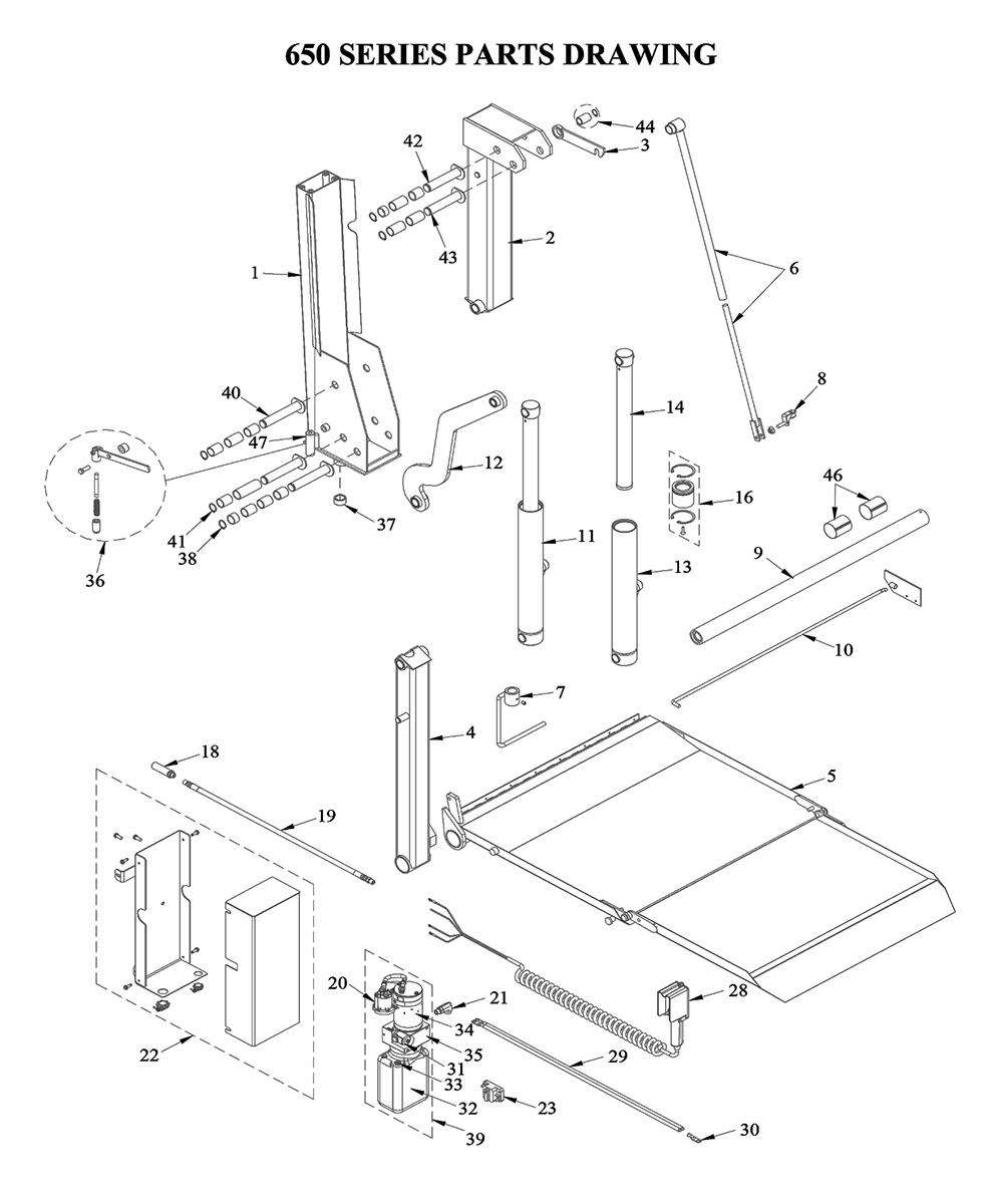 Tommy gate 650 series diagram cargo van