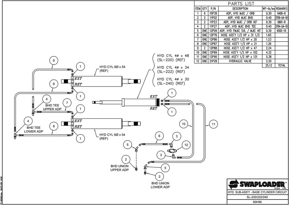 medium resolution of sl 220 222 240 hydraulic sub assembly base cylinder circuit diagram