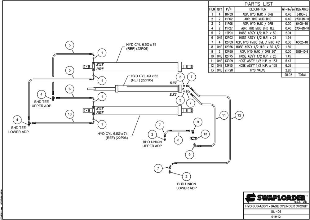 medium resolution of sl 406 hydraulic sub assembly base cylinder circuit diagram