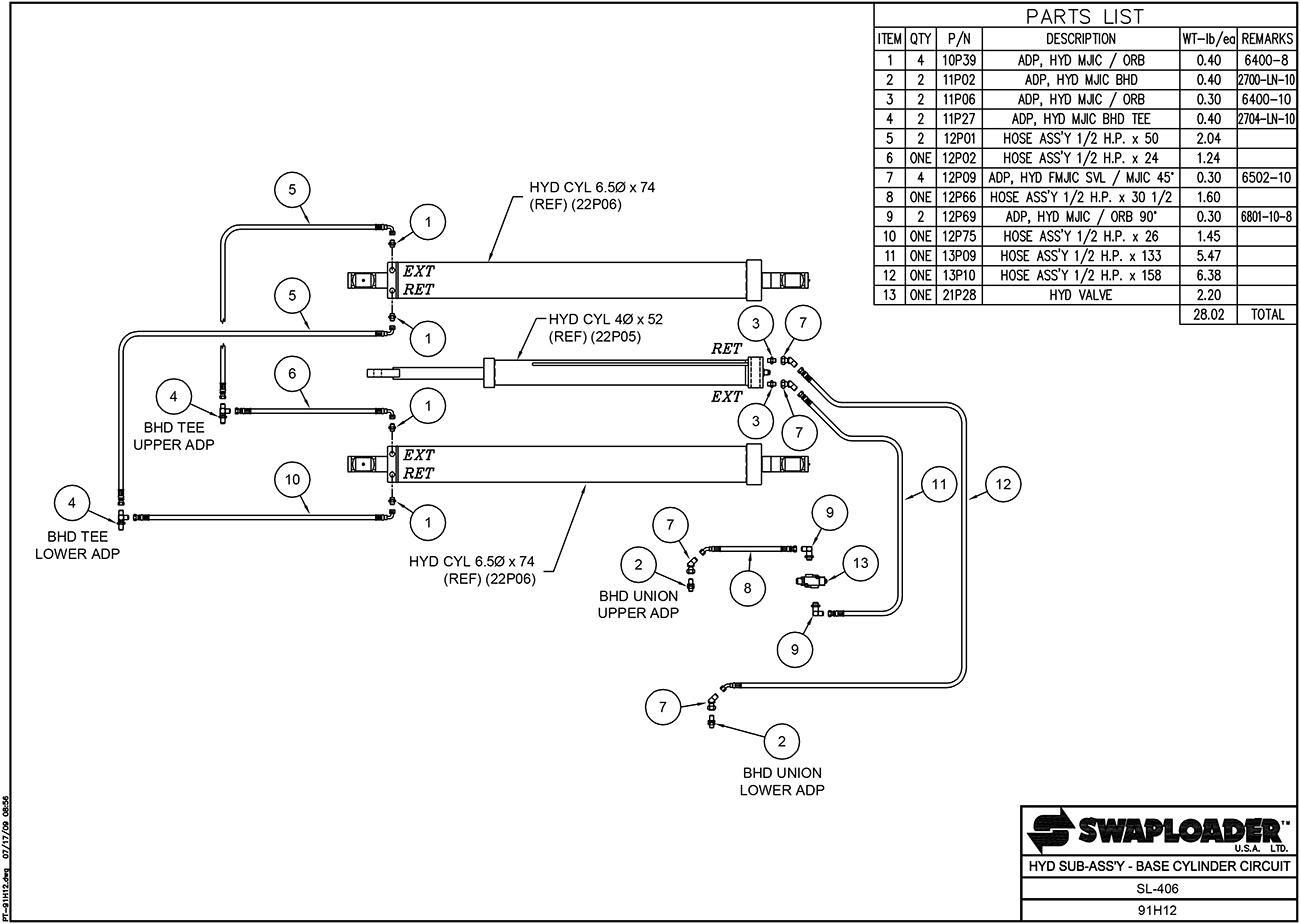 hight resolution of sl 406 hydraulic sub assembly base cylinder circuit diagram