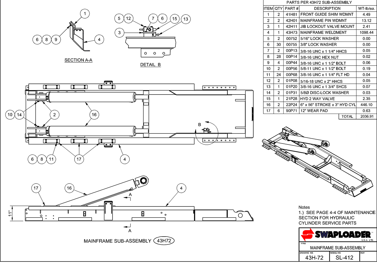 parts of a submarine diagram isuzu rodeo stereo wiring swaploader 400 series sl 412 hooklift diagrams iteparts