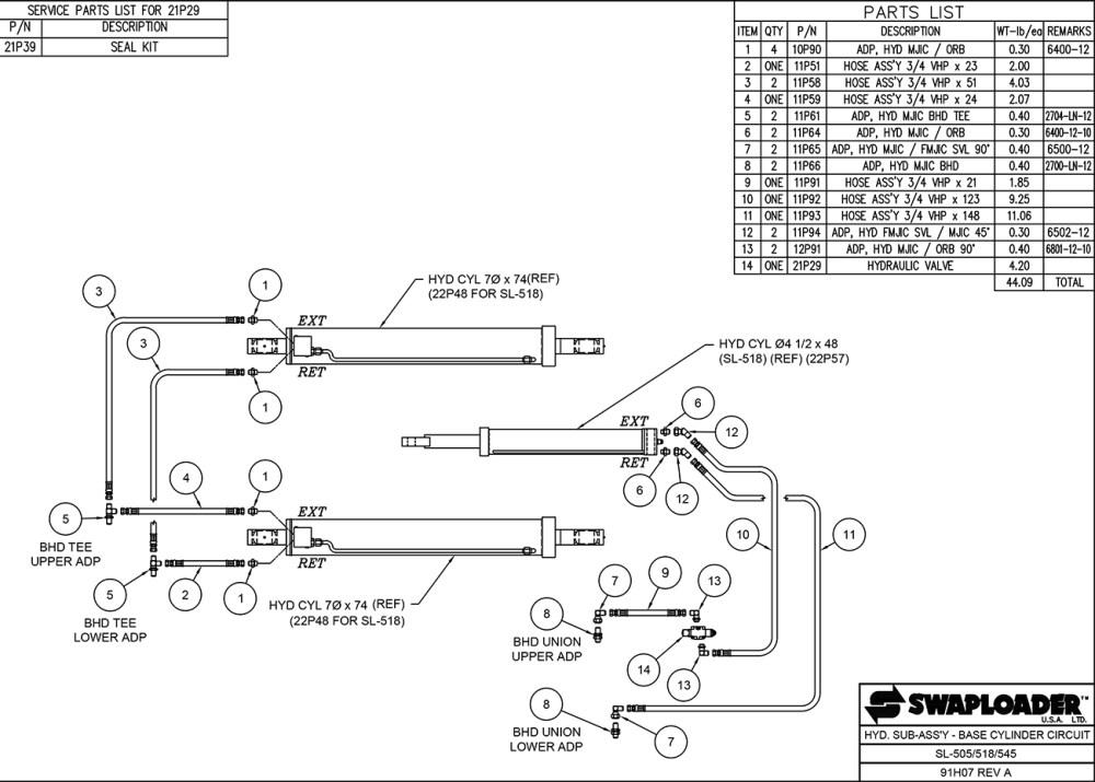 medium resolution of sl 518 hydraulic sub assembly base cylinder circuit diagram