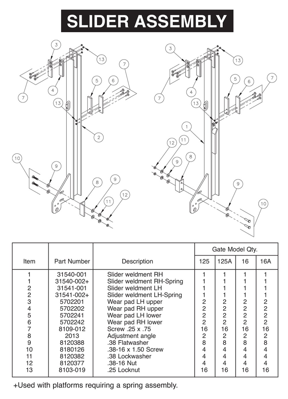 medium resolution of all aluminum tvl 125 16 125a 16a slider assembly diagram