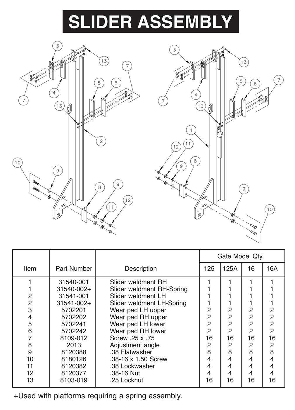 hight resolution of all aluminum tvl 125 16 125a 16a slider assembly diagram