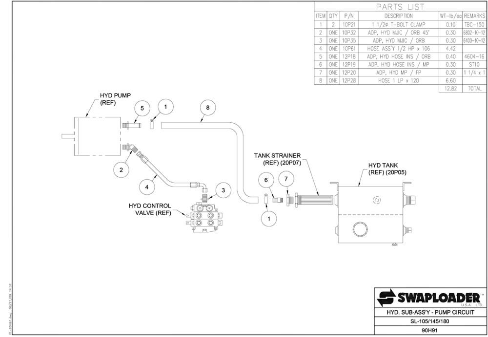 medium resolution of sl 105 145 180 185 hydraulic sub assembly pump circuit diagram