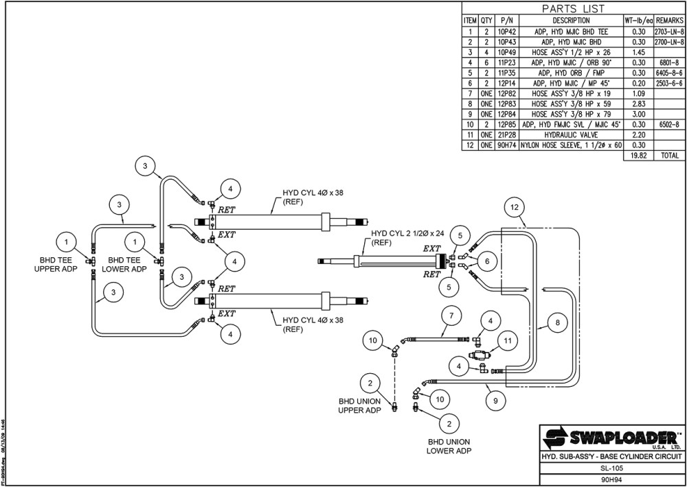 medium resolution of sl 105 hydraulic sub assembly base cylinder circuit diagram