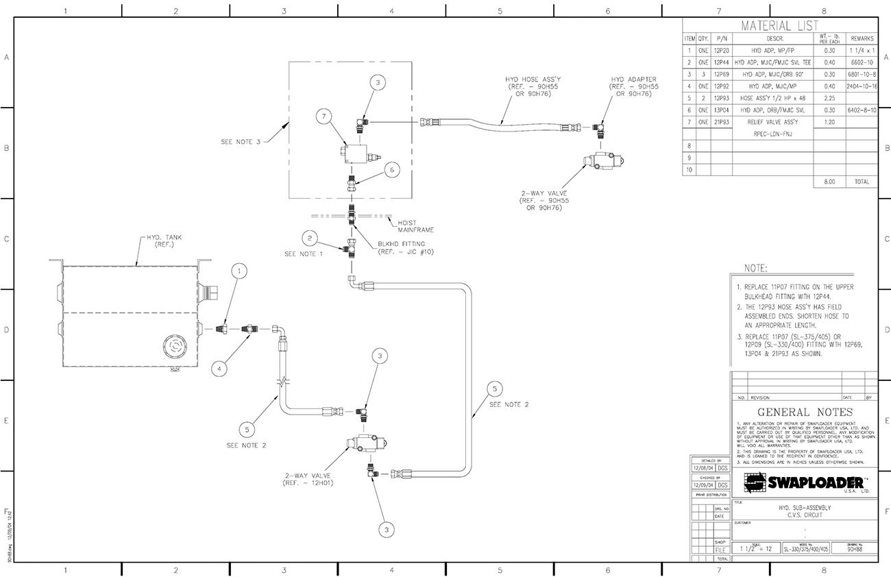 Sl 330 400 hydraulic sub assembly cvs circuit diagram