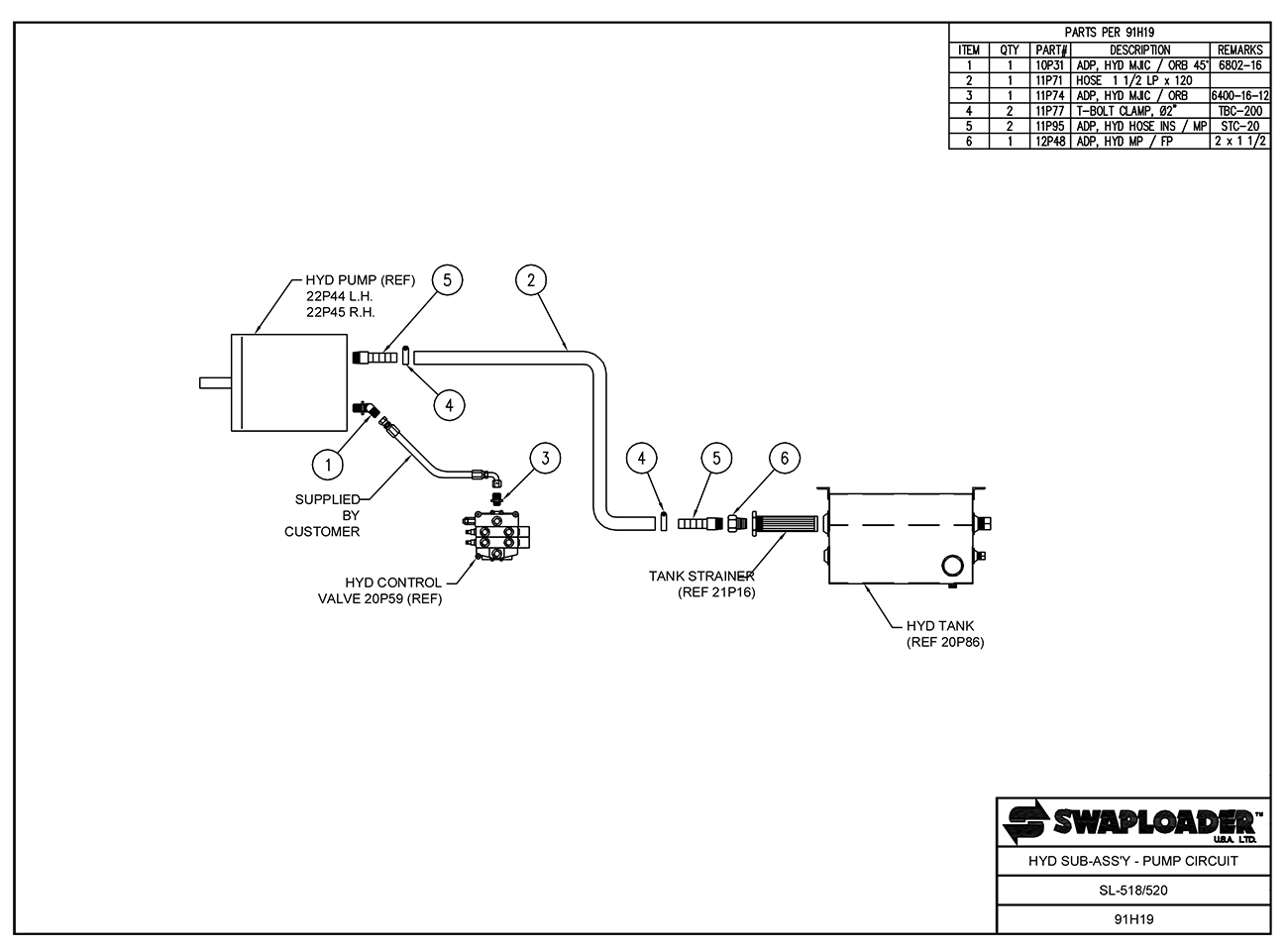 hight resolution of sl 518 520 hydraulic sub assembly pump circuit diagram